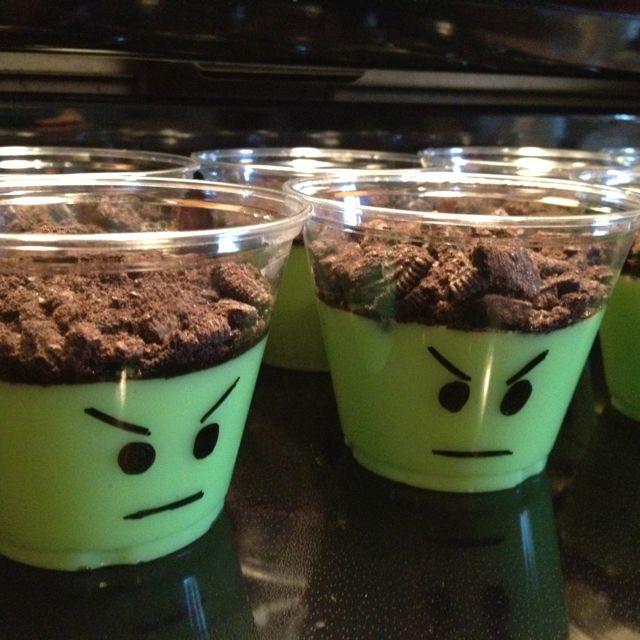 Pudding cups for a incredible hulk themed birthday party! Green food coloring & crushed Oreos on top.  I've seen these before for Halloween.  I never thought of it being the Hulk!