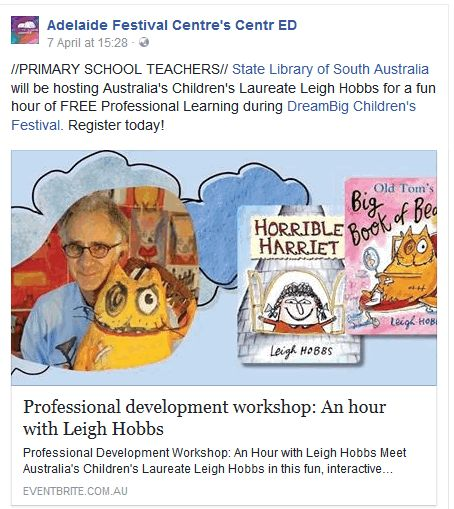 Join Leigh Hobbs, Australia's Children's Laureate for an hour of fun and Professional Learning on Thursday 18 May 2017 at 4:45 pm, State Library of SA - http://tiny.cc/LeighHobbs18May17  #DreamBIGChildrensFestival #YouthArts #ArtsFestival #SouthAustralia #LeighHobbs #ProfessionalLearning