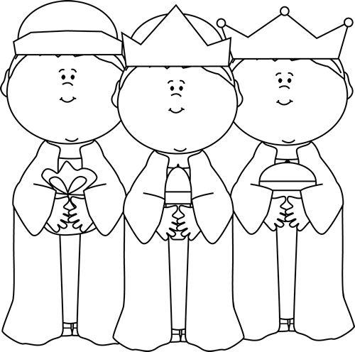 Black and White Three Wise Men Clip Art - Black and White Three Wise Men Image