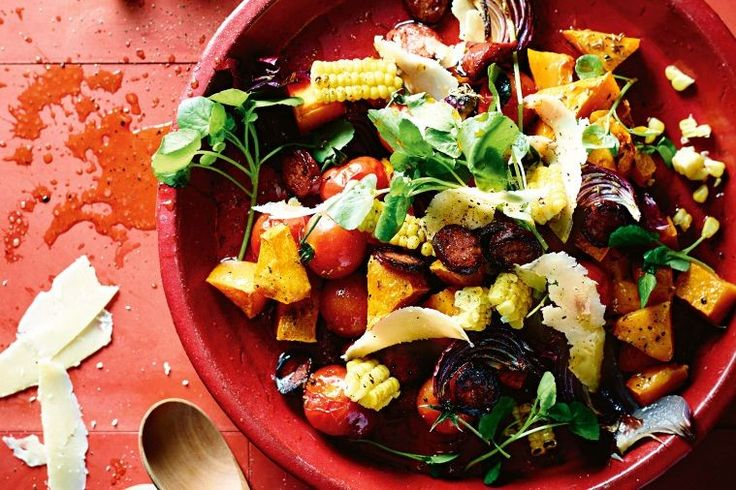 This colourful salad combines spicy chorizo, sweet butternut pumpkin and creamy manchego cheese.
