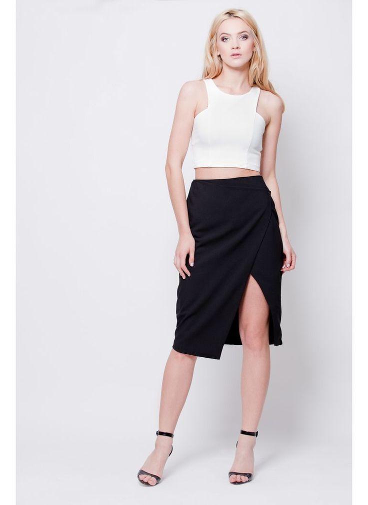 SPÓDNICA OŁÓWKOWA ROZCIĘCIE CZARNA I SKIRT BLACK PENCIL I  MONASHE.PL - Sklep online z modną odzieżą. Bluzki, sukienki, torebki, obuwie, akcesoria.
