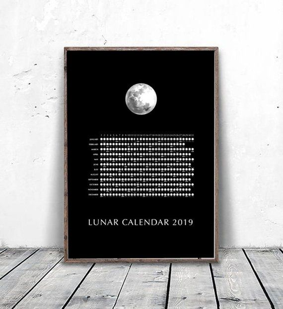 2019 Lunar Moon Calendar, 2019 Moon Phases Chart, Yearly Wall