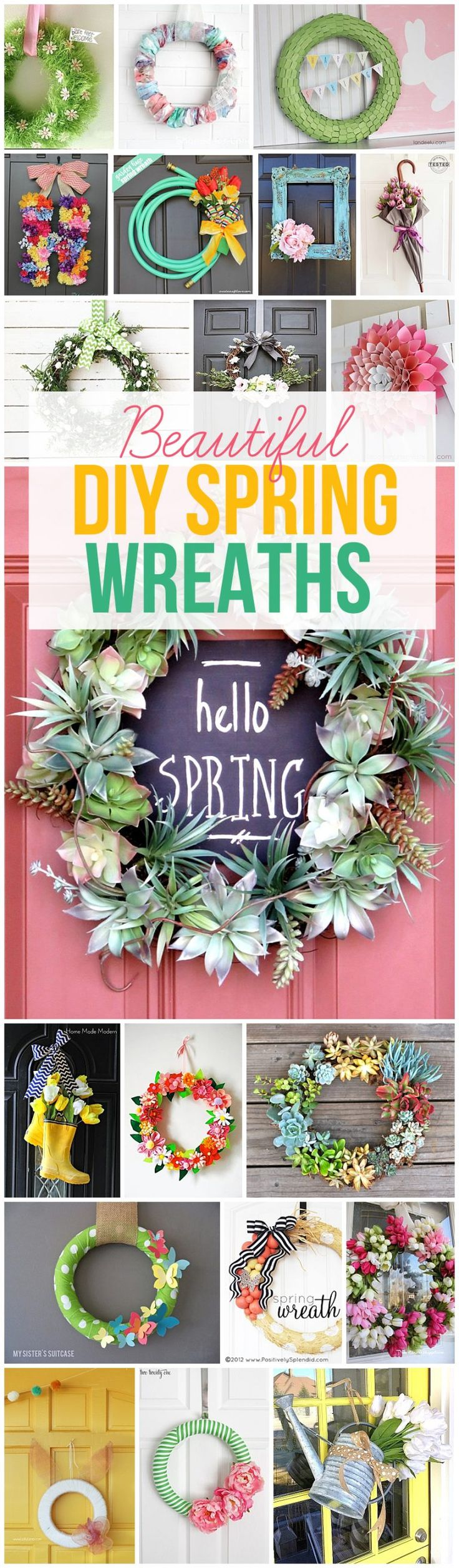 Get your craft on and make some one of these beautiful DIY spring wreaths this y...