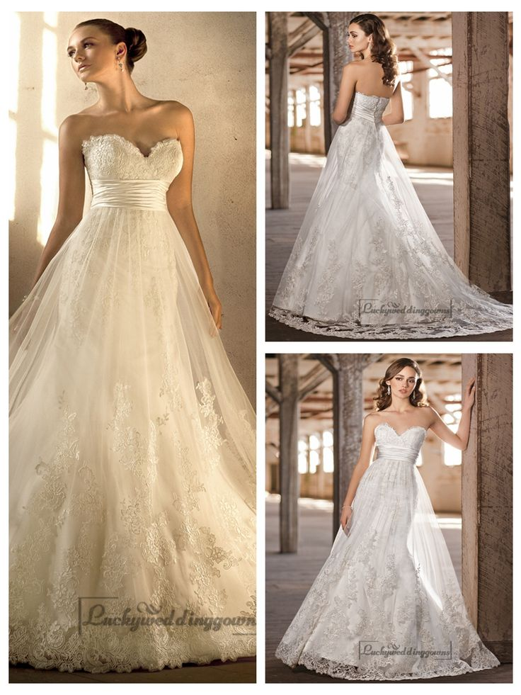 GORGEOUS SWEETHEART A-LINE LACE OVER EMPIRE WEDDING DRESSES