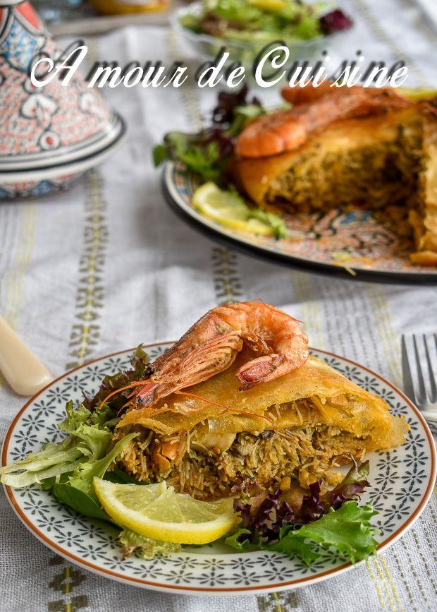 pastilla au poisson et fruits de mer 1, traditional moroccan bastilla seafood.