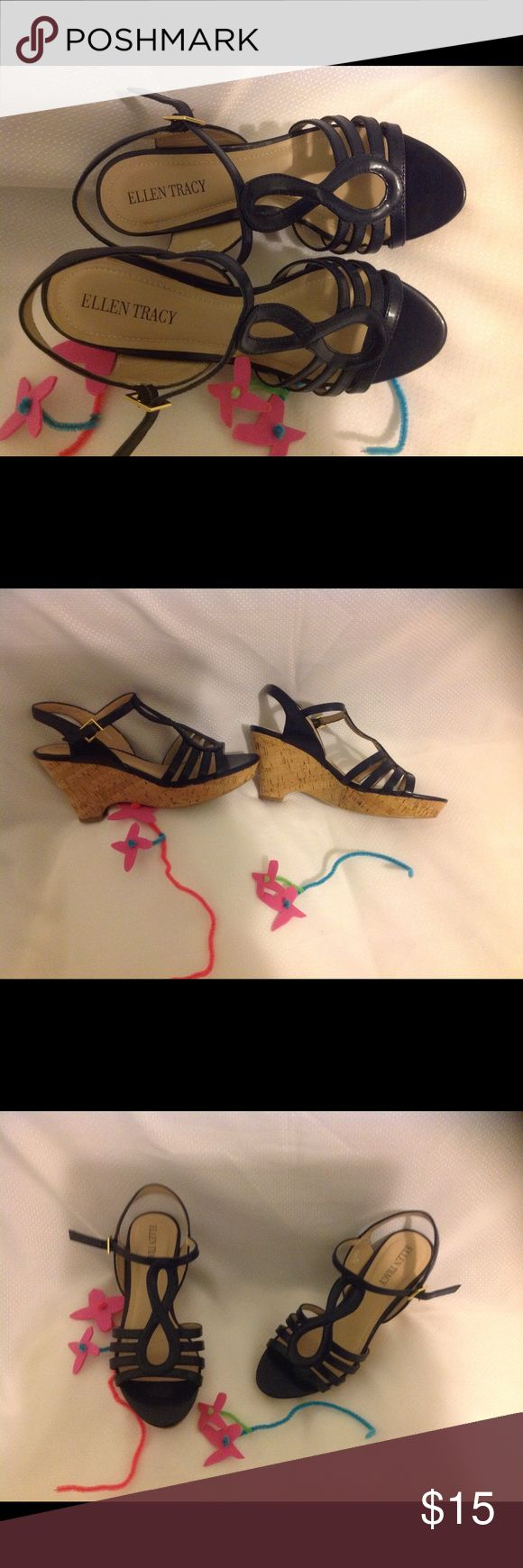 Ellen Tracy ladies shoes Cork wedge. Closure on side.  Used but in excellent condition. Color more like navy blue. Medium width. Ellen Tracy Shoes Wedges