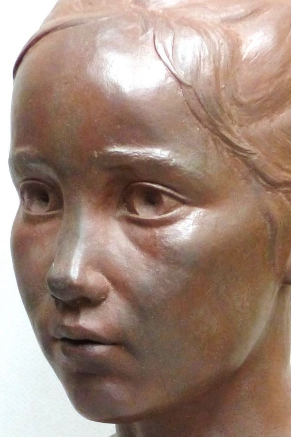 Terracotta Children Child Babies Infants Toddlers Kids sculpture statuettes figurines sculpture by sculptor Tristan MacDougall titled: 'Child Portrait (Head Bust Face Likeness Commission Bespoke statue)' - Artwork View 2
