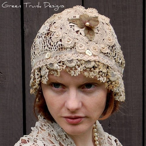 Upcycled vintage lace hat upcycled-vintage-linens-clothing-accessories