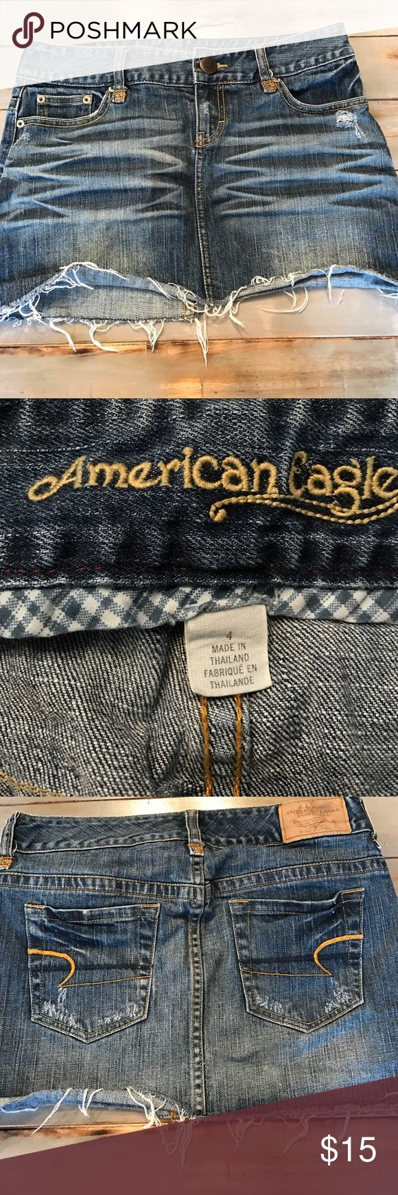 American Eagle jean skirt! American Eagle distressed jean skirt! No flaws that I can see!! American Eagle Skirts Mini