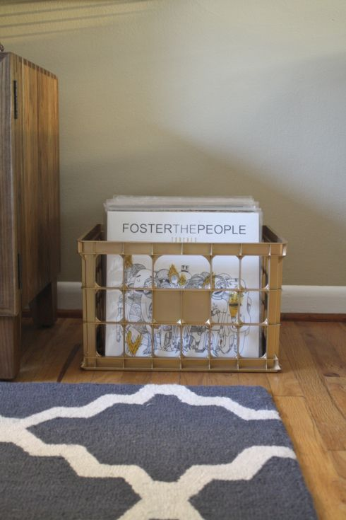 DIY Gold Spray Painted Milk Crate Record Box