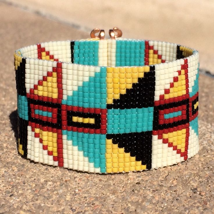 Tribal Chichen Itza Bead Loom Bracelet Bohemian Boho Artisanal Jewelry Indian Western Beaded Southwestern Turquoise Brown Santa Fe by PuebloAndCo on Etsy https://www.etsy.com/listing/225203885/tribal-chichen-itza-bead-loom-bracelet