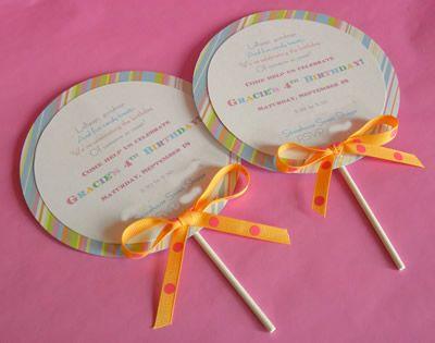 Lollipop invitations.Birthday Parties, Party Invitations, Candies Theme Parties, Invitations Ideas, Parties Ideas, Parties Theme, Parties Invitations, Themed Parties, Birthday Ideas
