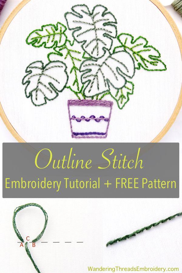 Embroidery Outline Stitch : embroidery, outline, stitch, Outline, Stitch, Tutorial, Pattern, Wandering, Threads, Embroidery, Stitches,, Tutorials,, Stitches