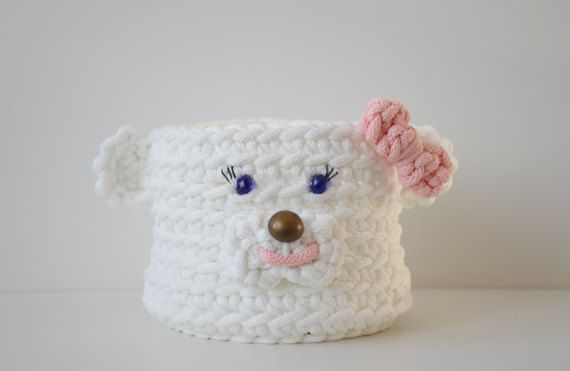 Crochet round box Polar bear girl  storage basket children