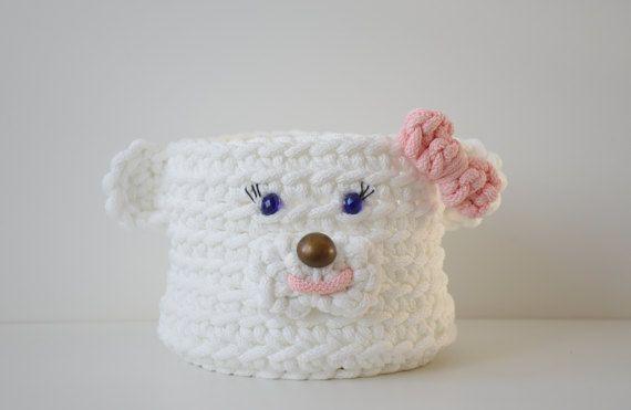 Crochet round box Polar bear girl  storage basket children
