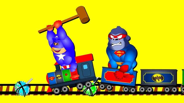 Gorilla Superheroes Train finger family songs for kids  Funny cartoon gorilla videos
