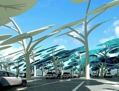 """Un """"bosque solar"""" diseñado para cargar coches eléctricos con paneles solares que siguen al sol, y mantener los coches en fresco y sombreado. https://m.facebook.com/story.php?story_fbid=10158647623805068&substory_index=0&id=179495650067"""