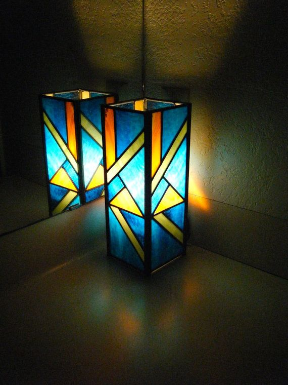 Blue and Orange Stained Glass Pillar Lamp by Masterpiece Glass in Austin, TX