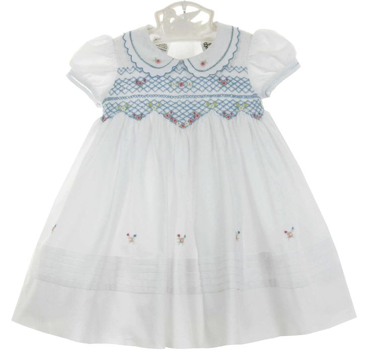 NEW Sarah Louise Vintage Style White Smocked Dress with Blue Embroidery and Pastel Flowers