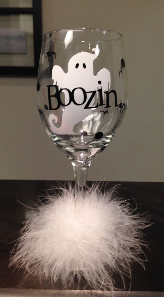 Boozin Booze Ghost Halloween Diva Wine Glass by DentalDivalicious