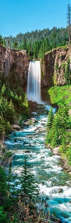 Tumalo Falls, located in Bend, Oregon, USA, are 97-feet tall falls in the Deschutes Forest.