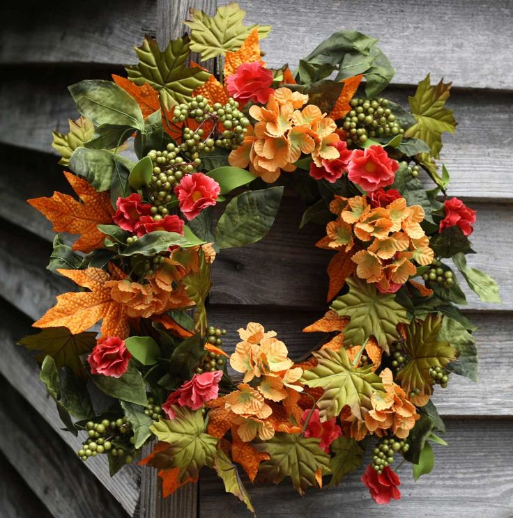"- This Beautiful 22"" Fall Wreath with Apricot Hydrangeas, Green Apple Berries and mixture of foliage's is a Weather Resistant Wreath that can be used Indoors or Outdoors - Sturdy Built Wreath on Grape"