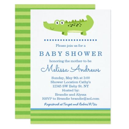 Green and Blue Alligator Baby Shower Invitation - birthday cards invitations party diy personalize customize celebration