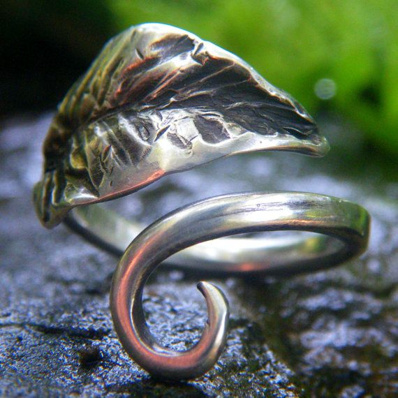 My idea of my wedding ring!!! Sylvan Leaf Ring Hand Forged in Sterling by StarGazingWoodElf, $50.00