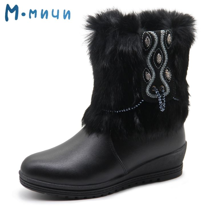 38.35$  Buy here - http://ai7ey.worlditems.win/all/product.php?id=32764994542 - MMNUN Russian Famous Brand Leather Boots for Big Girls Warm Shoes for Girls Black Winter Boots for Girls Children's Winter Shoes