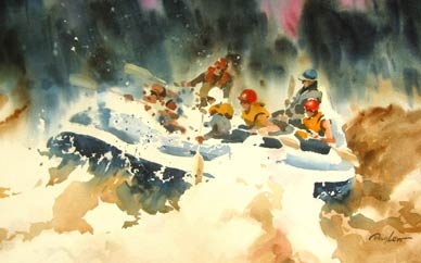"""""""White Water Rafing"""" by Doug Lew.  20"""" x 28"""" Watercolor Original. Fun!...but scary...and dangerous!  A heart-skipping moment when you realize the water is in control. Info: http://www.spiritofsports.com/product/MSC-A-01495/White_Water_Rafing?referrer=gallery"""