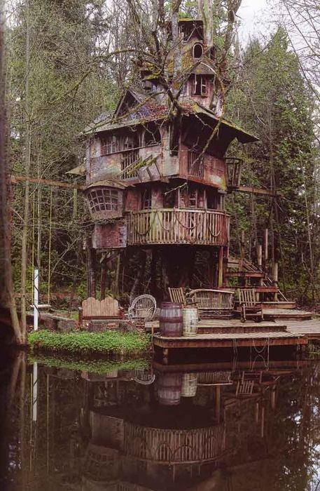 I think this is  a cottage or a folly: Dreams Home, Lakes House, Swiss Families Robinson, Tree Houses, Dreams House, Treehouse, Trees House, Vacations House, The Burrow