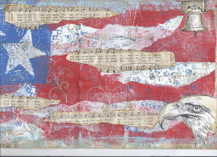 Stars and Stripes Forever!  Print made with the Gelli Arts Printing Plate.