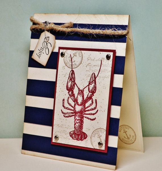 Masculine Nautical Card  Father's Day Card Red by Paperdipity