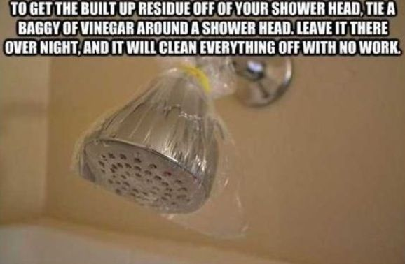 Easy cleaning for Shower Head. THIS REALLY WORKS, I HAVE TRIED IT.