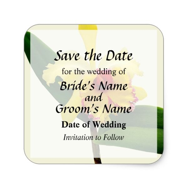 Pink Tipped Yellow Orchid Save the Date Square Sticker #wedding #kraft #custom #bridekraft #floral #flowers
