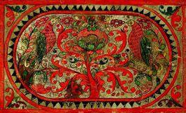 Дерево (прялка, фрагмент лопаски, лицо) Борок, Северная Двина, XIX в. Дерево, резьба, роспись