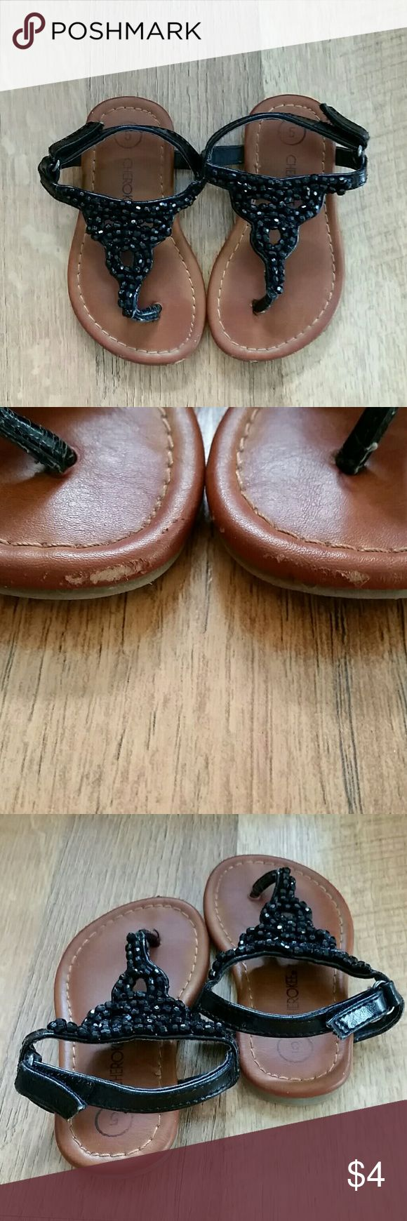 Kids beaded sandals Leather like footbeds, black beaded sandals with velcro fasteners on back. Cherokee Shoes Sandals & Flip Flops