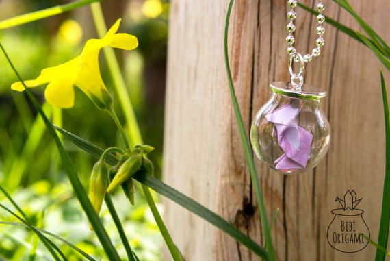 Origami rabbit Globe Bottle Pendant Necklace Glass Bottle