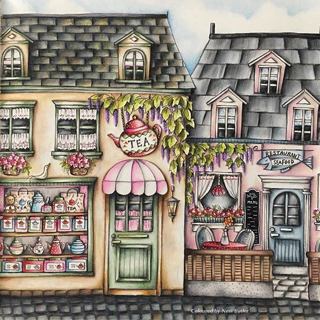 ☕️Happy Saturday ☕️ Here is my first colouring from the beautiful books by Eriy .. Romantic Country Book 1 from Chapter 1 .... have a wonderful day what ever you are up too ☕️☕️ . #romanticcountry#romanticcountrycoloringbook#prismacolorpencils#prismacolor