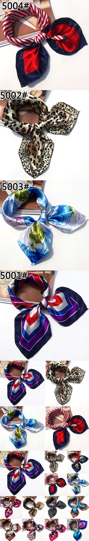 Soft Faux Silk Square Scarf Bandanas Head Wrap Shawl Satin Stewardess Kerchief