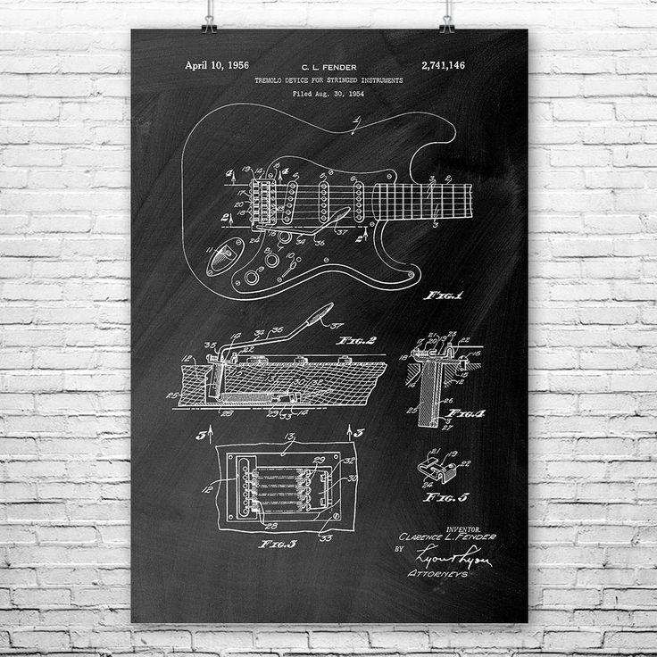 Fender Stratocaster Guitar patent art design circa 1956. #Fender #Stratocaster #guitar #music #art #musician #gift
