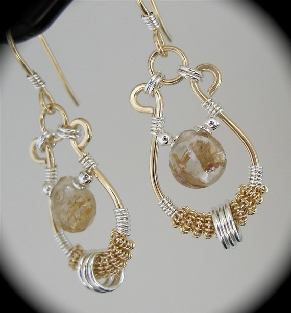 14k Goldfill and Silver Wire Wrapped Earrings