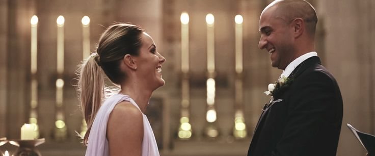 A shot of Liz & Joost getting the giggles before their 'I Do's'