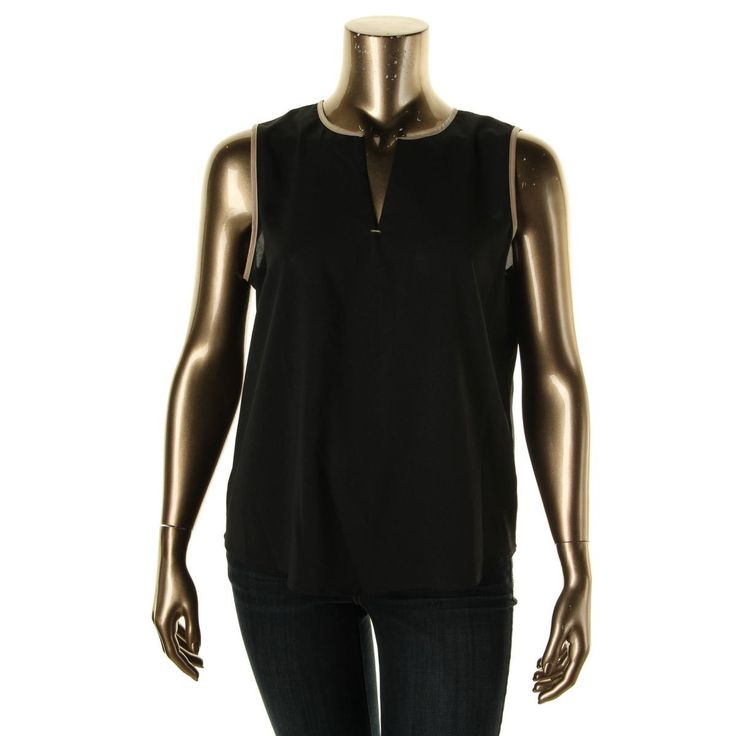 Calvin Klein Womens Contrast Trim Sleeveless Blouse