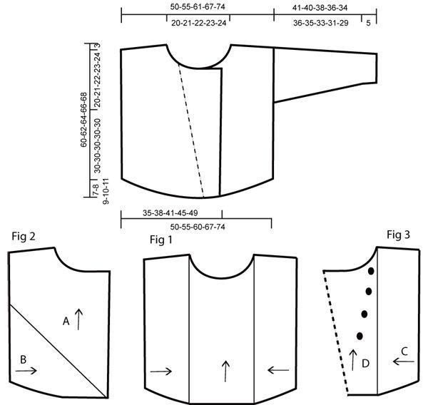 DROPS Groot vest bestaande uit meerdere delen gebreid met 2 draden Alpaca. Gratis patronen van DROPS Design.