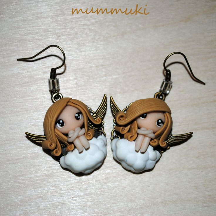Polymer clay angels earrings by mummuki on Etsy