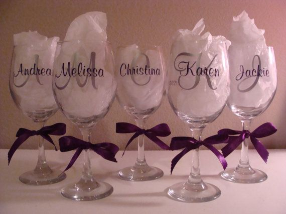 25+ best ideas about Bridesmaid wine glasses on Pinterest ...