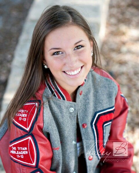 Senior picture with letterman jacket