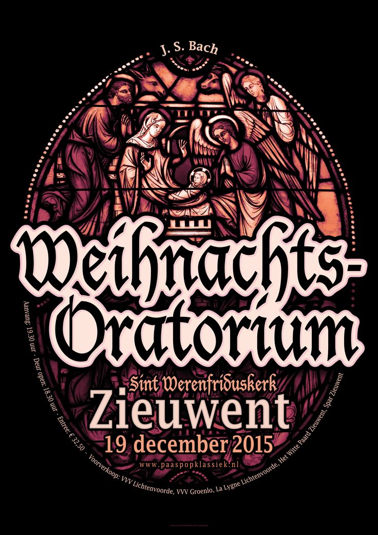 Weihnachts-oratorium poster by Roel Stoltenborg #poster #leaflet #graphic #design #event #concert #symphony #orchestra #church #stained #glass #johann #sebastian #bach #weihnachts-oratorium #weihnachtsoratorium