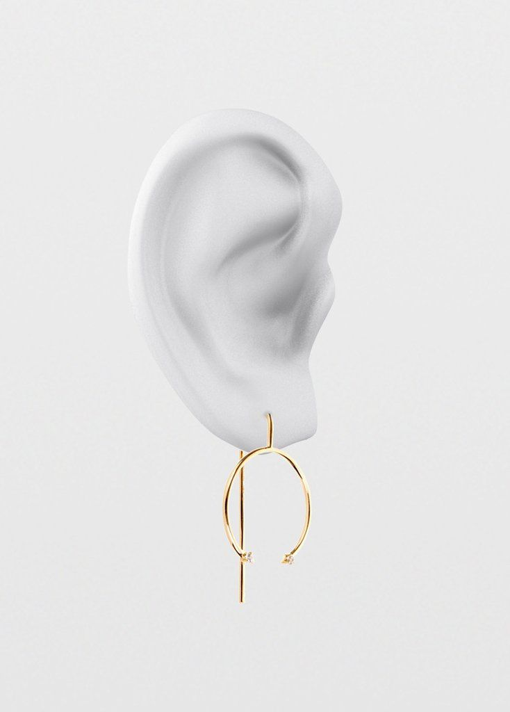 Cercle Hook Earrings  18 Karat Yellow Gold With Sapphires